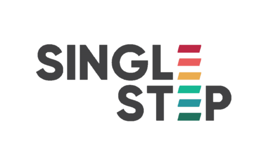 Logo of Single Step. The words SINGLE STEP are written in capital letters, one on top of the other. The letter 'E' in Single and Step are lined up on top of each other. The two E's create a rainbow flag with the 6 colours as separate lines.